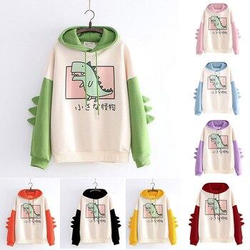 2021 New Women Hoodies Casual Print Long Sleeve Splice Dinosaur Sweatshirt  Girls Tops Autumn Winter Oversize Tracksuit S--XXL 2