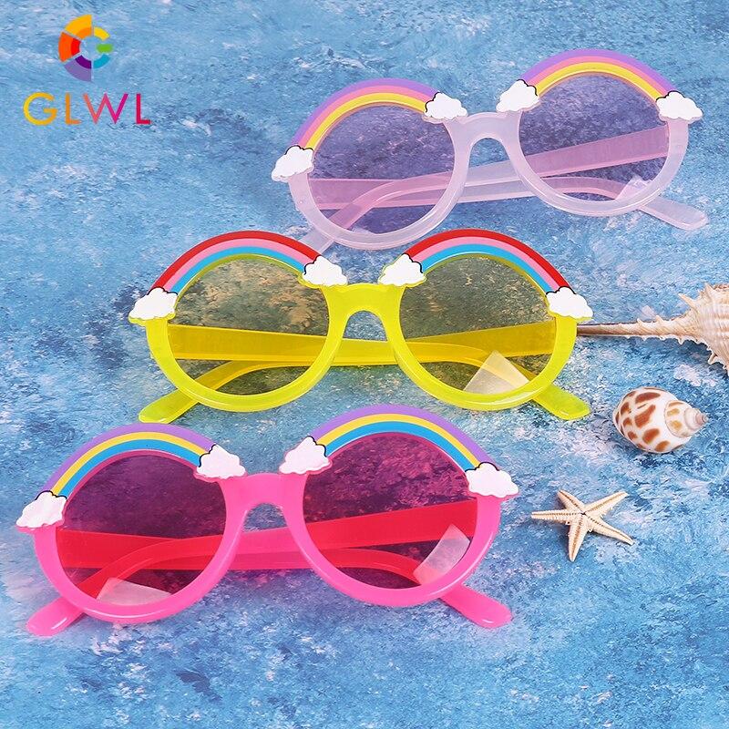 Round Sunglasses Kids  Rainbow Sun Glasses Girls Boys New Plastic Children Eye Glasses Baby Girl Shades Cheap Kid Mirror Yellow