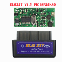 цена на 2019 Super Mini OBD ELM327 V1.5 Bluetooth With PIC18F25K80 Chip OBD2 Scanner Adapter ELM 327 Auto Diagnostic-Tool For Android/PC