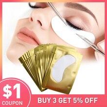 200 זוגות ריס הארכת נייר תיקון מוך עיניים חינם טיפים מדבקת כורכת ריסים איפור כלים תחת עין כרית רפידות סיטונאי