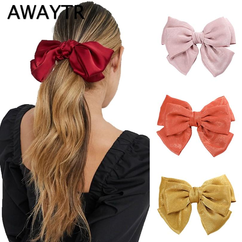 AWAYTR Fashion Ribbon Hairgrips Large Bow Hairpin For Women Girls Satin Trendy Ladies Hair Clip Cute Barrette Hair Accessories