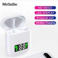 Mcgesin i99 tws fones de ouvido sem fio bluetooth com display led fone música earbud suporte carregamento sem fio com microfone