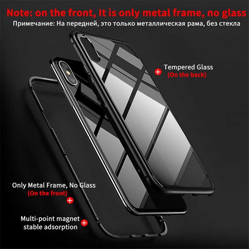 Capa de metal de adsorção magnética para iphone, capinha de vidro temperado para celulares iphone se, 11 pro, xs max, xr, x capa 7 8 6s plus