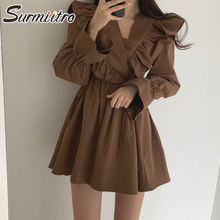 SURMIITRO Korean Style Chic Mini Dress Women 2021 V Neck Elegant Ruffles Long Flare Sleeve Tunic Party Sundress Female