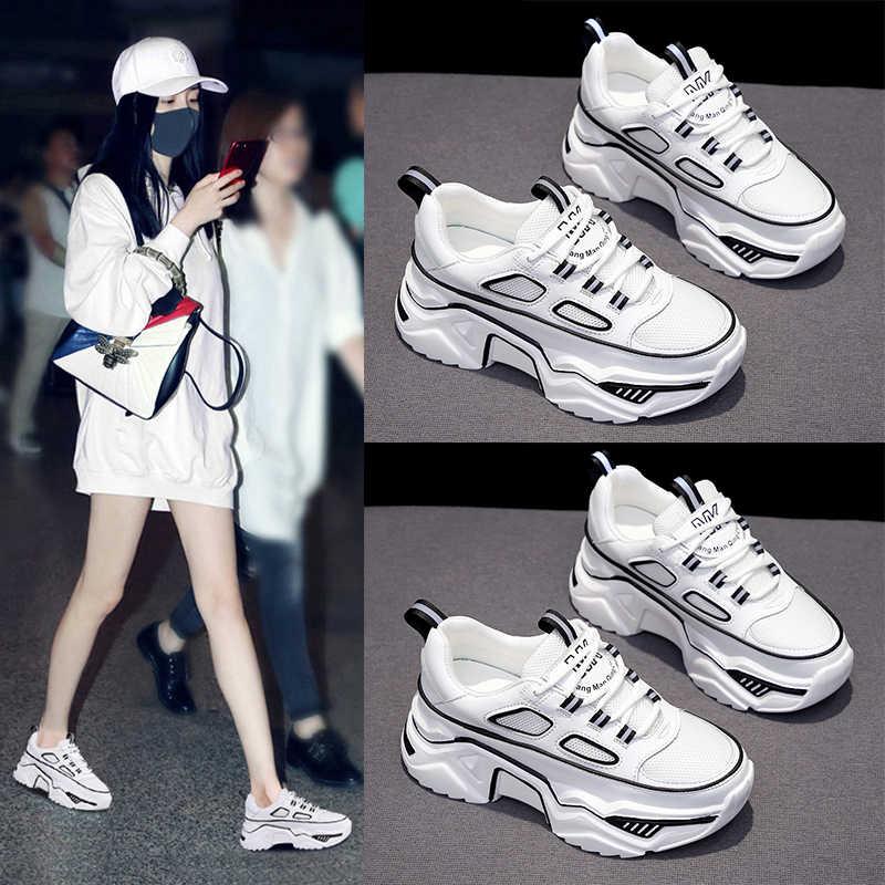 Dành Cho Nữ Trắng Đen Giày Thiết Kế Người Phụ Nữ Thu Đông Chun Giày Sneakers Thời Trang Đèn Bố Giày Nữ Đế Giày