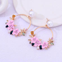 Women Cute Big Round Earrings Rose Gold Drop Pink Flower Circle For Charms Jewelry