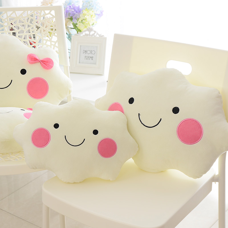 Sales Creative Cartoon Kawaii Smiley Face Bow Cloud 100% Cotton Stuffed Back Cushion Seat Cushion Plush Toy Back Cushion KZ12