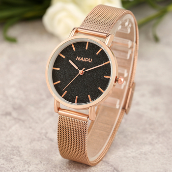 цена Rose Gold Mesh Band Analog Quartz Watch Black Dial Clock for Women Noble Strap Wrist Bracelet zegarki damskie Christmas Gift онлайн в 2017 году