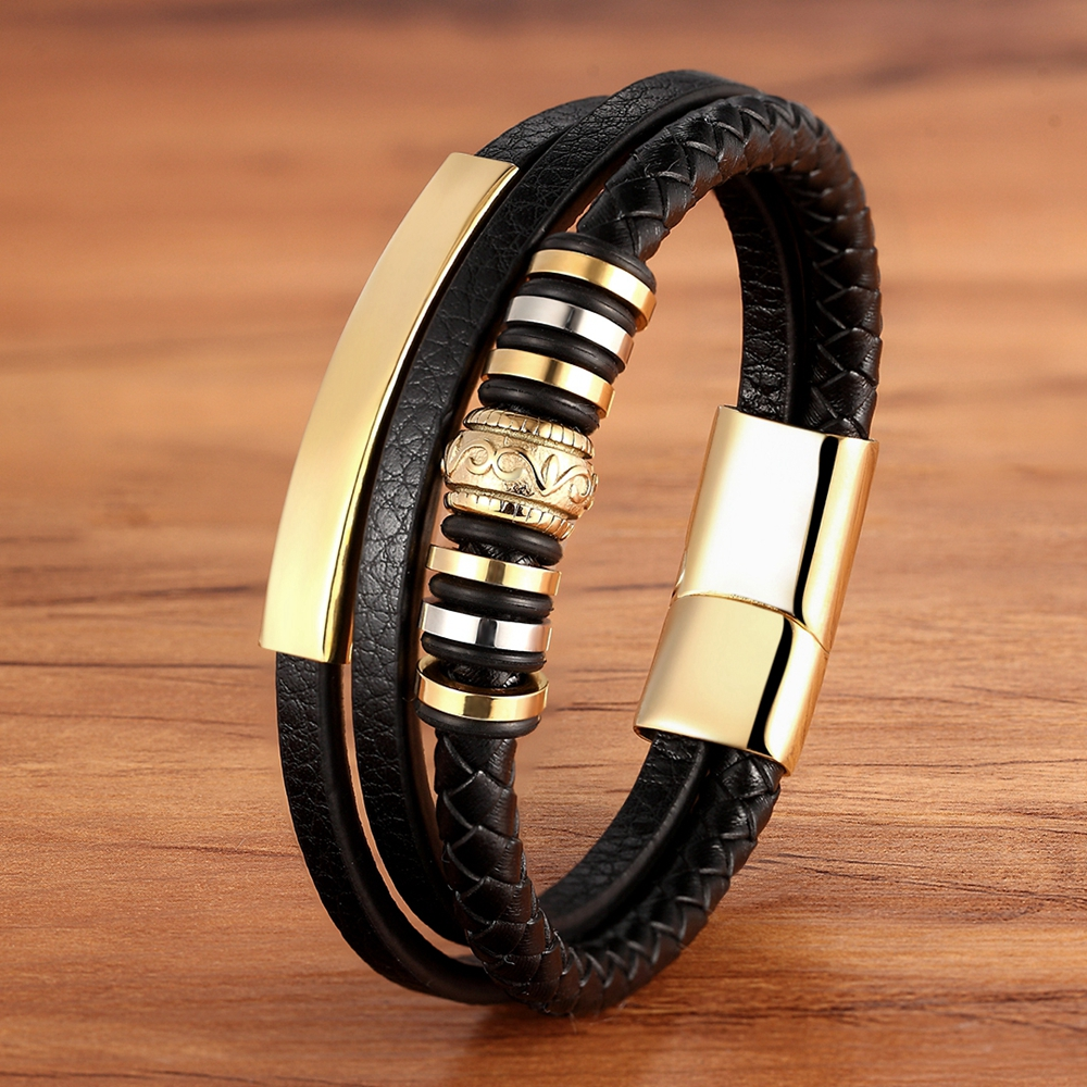 Bracelet for Men Multilayer Genuine Leather Bangles Magnetic Clasp Cowhide Braided Multi Layer Wrap Trendy Bracelet Armband