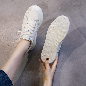 SWYIVY Genuine Leather Casual Shoes Women Sneakers 2019 Autumn Light White Sneakers Platform Med Heel