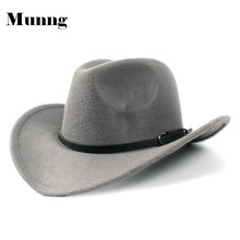 Munng Unisex Winter Western Retro Style Wide Brim Cowboy Cowgirl Hat Fedora Jazz Cap(China)