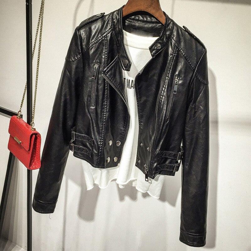 2019 Women Autumn Winter PU   Leather   Jackets Zipper Boyfriend Style Standing Collar Pocket Biker Jacket