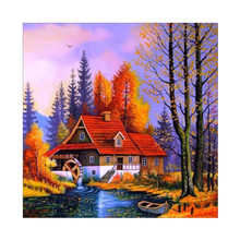 GATYZTORY 5D Diamond Painting House Full Square Embroidery Landscape Mosaic Handmade Cross Stitch Home Decoration gatyztory 5d full square diamond painting 5d halloween embroidery house home decoration mosaic handmade gift