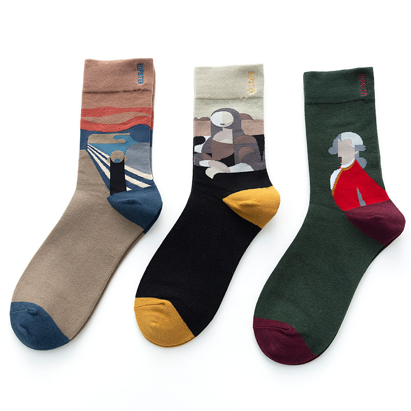 3Pairs/Pack Unisex Oil Painting Style Women Socks 100 Cotton Harajuku Colorful Funny Socks Women Standard Streetwear Size 35-43