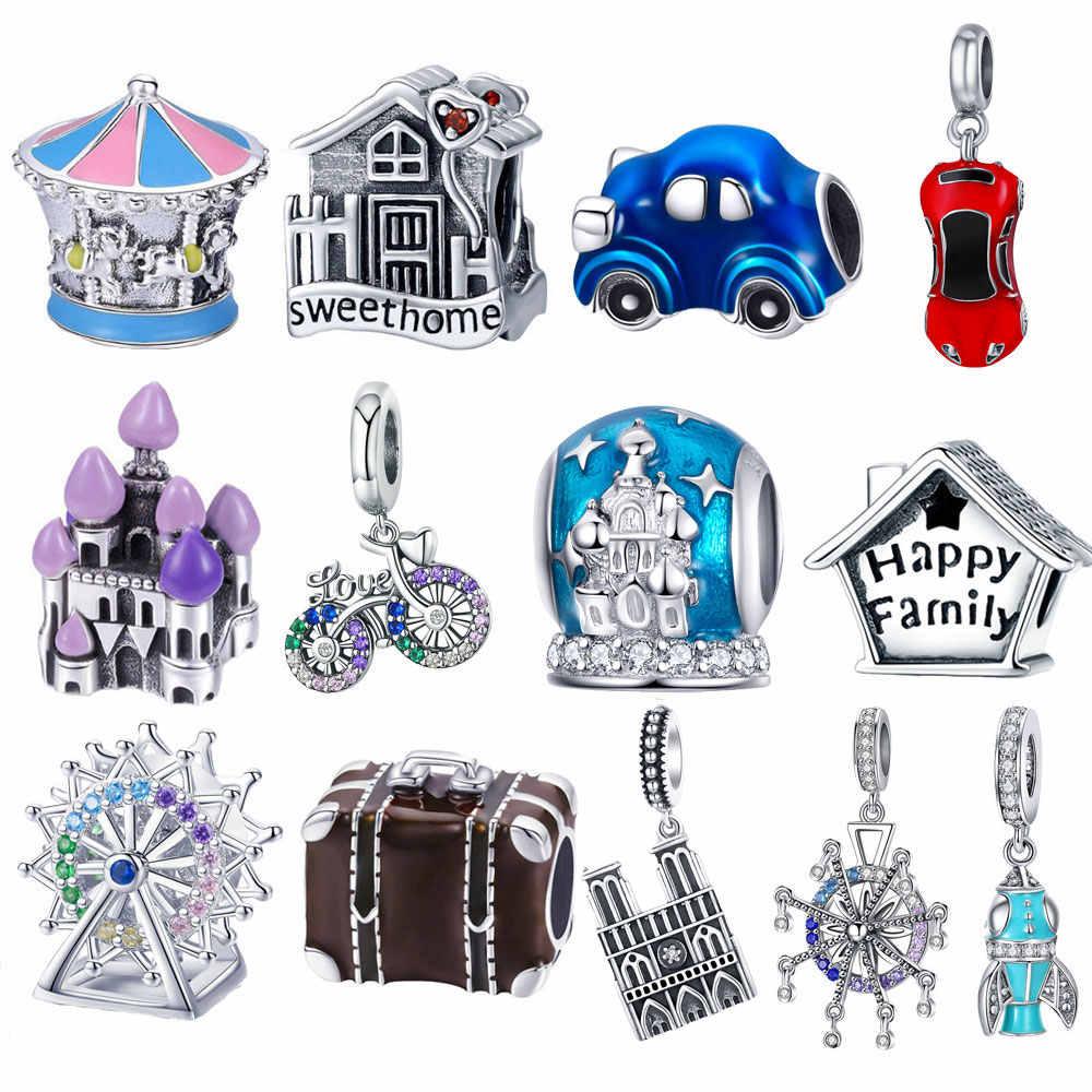 Bisaer 925 prata esterlina princesa gado abóbora carro carrinho de bebê casa da família contas apto charme pulseira diy jóias