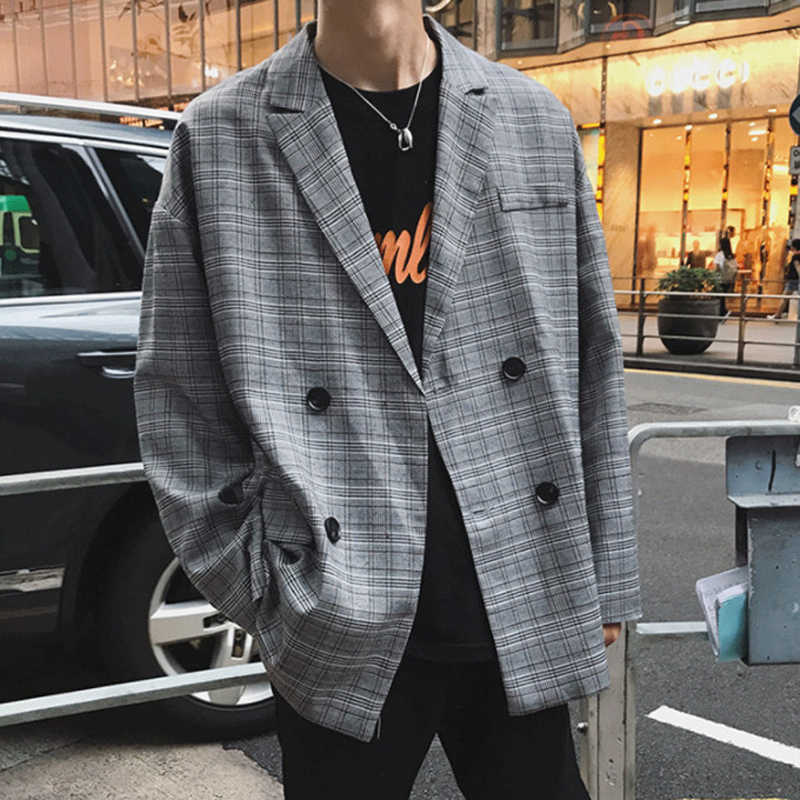 2019 Lente Engeland Stijl Jonge Mode Double Breasted Plaid Blazer Mannen Oversize Casual Pak