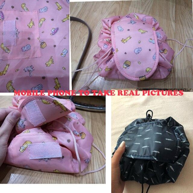 Women Drawstring Travel Cosmetic Bag Makeup Bag Organizer Make Cosmetic Bag Case Storage Pouch Toiletry Beauty Kit Box OC471 2