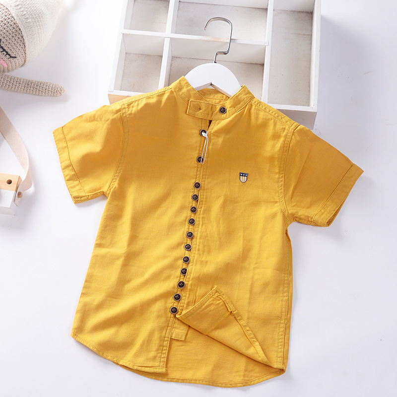 Cotton Linen Cool Fabric Straight Built In Teen Boys Shirts Summer Casual Buttons Children's Clothing