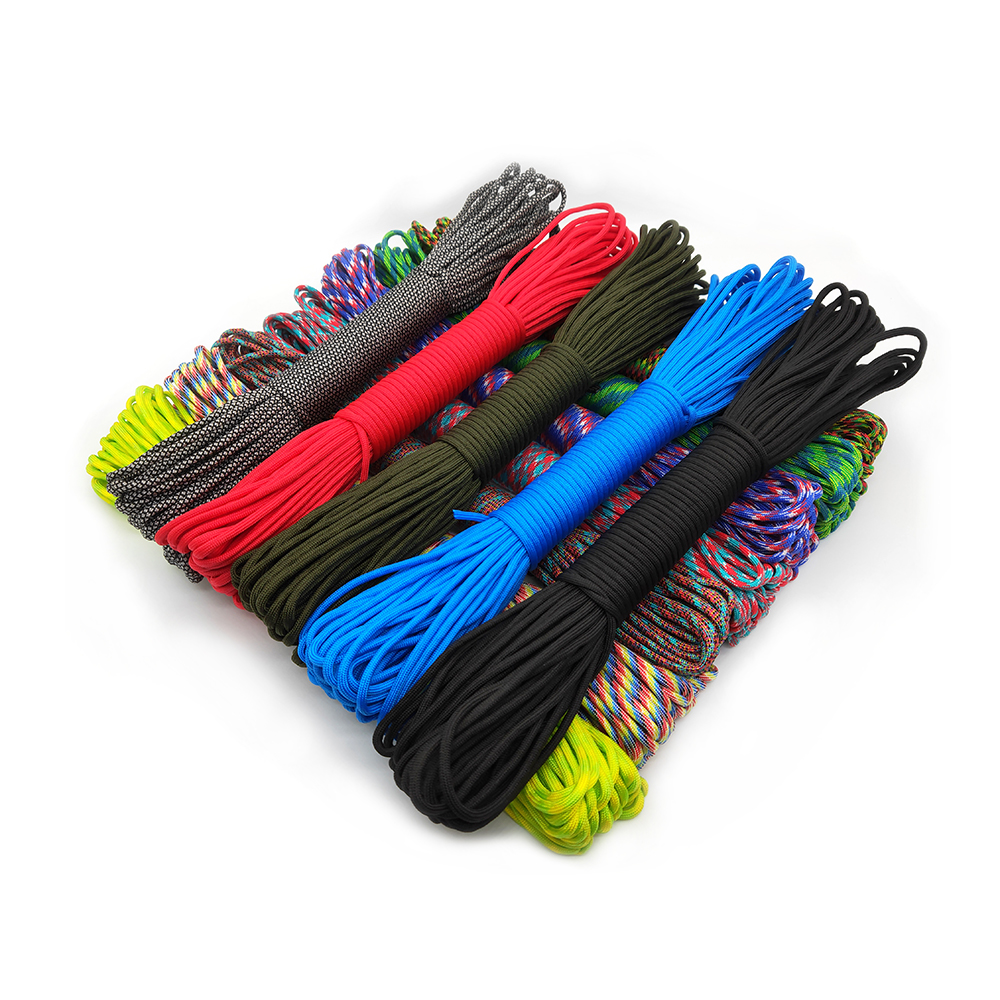 Paracord 550 Parachute Cord Lanyard Rope Mil Spec Type III 9 Strand 100FT 31m Climbing Camping Survival Equipment Climbing Rope
