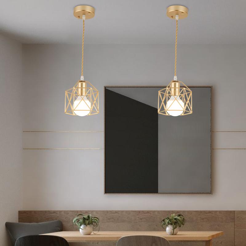 Modern LED Pendant Light Iron Gold Black Minimalist Metal Cage Pendant Lamp Living Room Restaurant Shop Bar Fixture Decoration