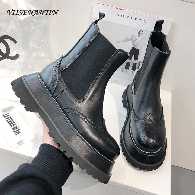 VIISENANTIN Style britannique Chelsea bottes courtes femme marée Ins cuir fond épais automne hiver noir Martin bottes Bullock botte