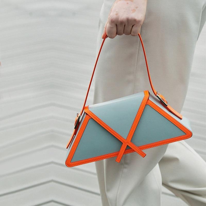 Panelled trapézio axilas saco 2020 na moda de alta qualidade couro bolsa ombro designer bolsas marca luxo