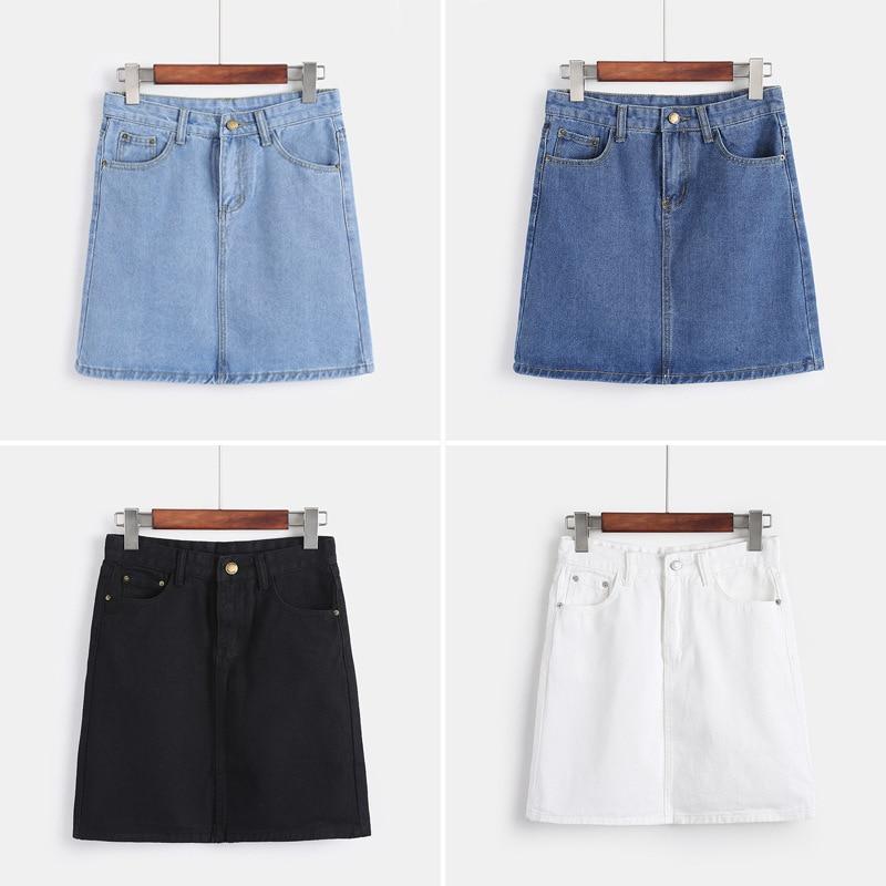2019 New Style Korean-style Retro Students A- Line Denim Skirt High-waisted Slimming Sheath Skirt Women's