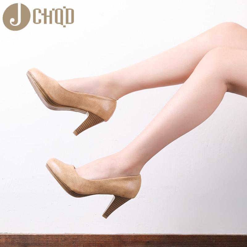Image 4 - JCHQD 2020 New  Women Med Heels  High Quality Shoes Classic Pumps  Shoes for Office Ladies Shoes European size36 41 Women shoesWomens  Pumps