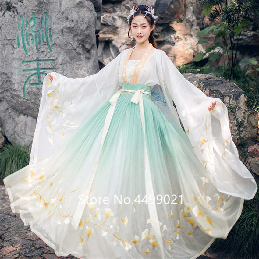 Chinese Folk Dance Clothing Set Retro Tang Dynasty Princess Cosplay Stage Wear Asian Traditional Women Hanfu Costume Fairy Dress