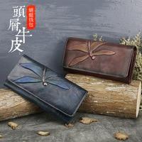 New Wallet Lady Butterfly Skin Carved Wallet Long Wallet Retro Handbag Lady Purse