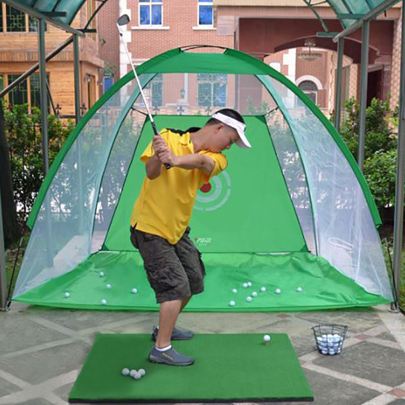 Foldable Golf Hitting Cage Training Aids Indoor Outdoor Sports Golf Cage Swing Trainer Chipping Net Backyard Golf Practice Net