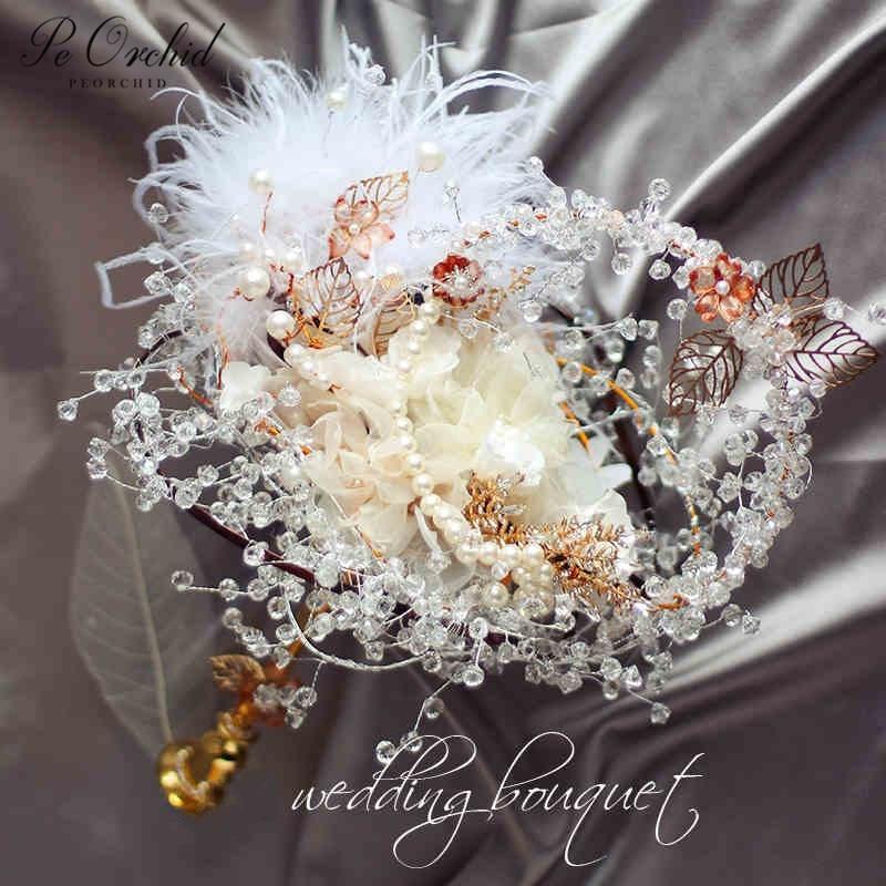 PEORCHID Luxury Crystal Brooch Wedding Bouquet Pearls Feathers Gold Boque Da Noiva Handmade Flowers Rhinestone Bridal Bouquets