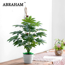 65cm 16fork Fake Plant Banch Large Artificial Fatsia Tree Leafs Plastic Green Faux Palm Foliage for Christmas Home Decor