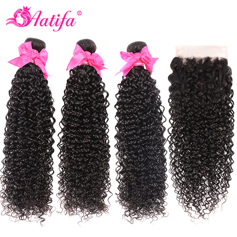 Mongolian Kinky Curly Bundles With Closure Human Hair 3 Bundles With Closure Remy Hair Human Hair Bundles With Closure Aatifa