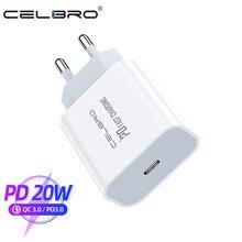 Adaptador de carga rápida para móvil, Cargador USB tipo C de 18W y 20W, PD, para IPhone 12, Mini Pro, 11, XR, X, 8 Max, Puerto PD de viaje para UE y EE. UU., 2020