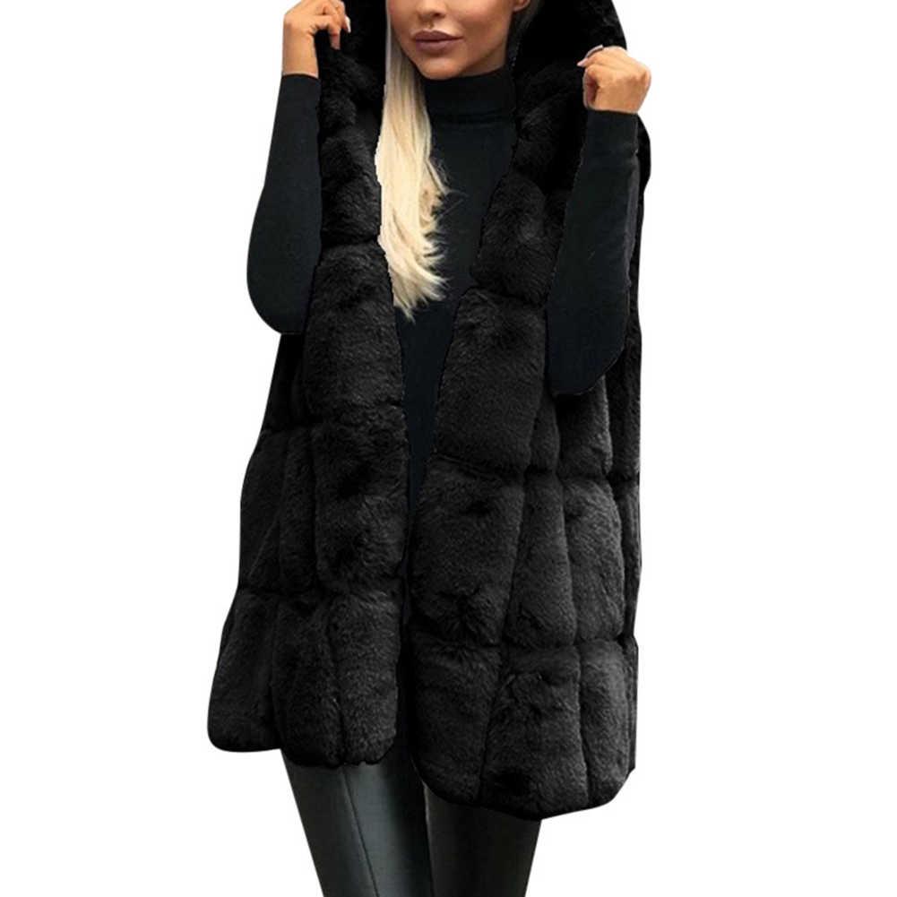 2019 Winter Verdicken Faux Pelz Weste Jacke Casual Frauen Einfarbig Mit Kapuze Weste Geeignet für herbst winter tragen jacke frauen