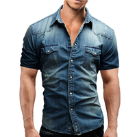 Men's Regular-fit Long-Sleeve Denim Work Shirt Two Button Front Chest Pockets & Pencil Slot Rugged Wear Thin Casual Cotton Shirts 1