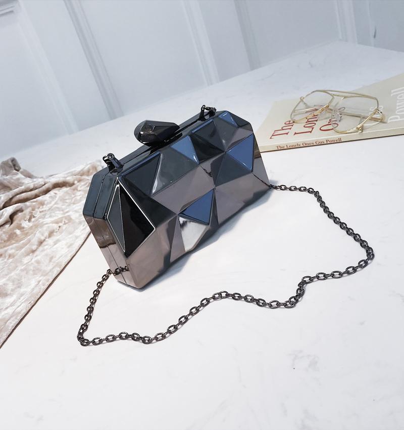 Hexagon Women Handbags Metal High Quality Clutches Fashion Geometric Mini Party Black Evening Purse Silver Bags Gold Box Clutch (23)
