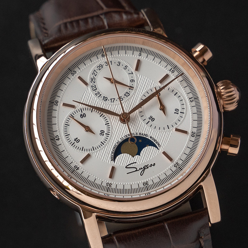 Vintage Moon Phase Watch Men Fashion Mechanical Luxury Seagull Movement Waterproof Men's Chronograph Watches Relogio Masculino