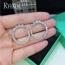 RAKOL New Fashion Brand Earring Clear Round Shape Cubic Zirconia Stud Earrings For Women Leaf CZ Jewelry Gift
