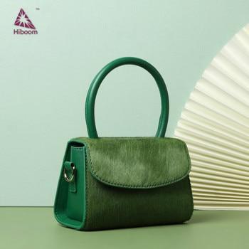 Hiboom New Top Layer Horse Hair Single Shoulder Messenger Bag Small Square Bag  Retro Genuine Leather Bag Lady's Mini Handbag