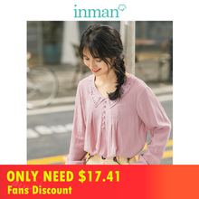 INMAN 2019 Autumn New Arrival Viscose Blending Prettty Lace Turn Down Collar Solid Literary Young Girl Women Blouse
