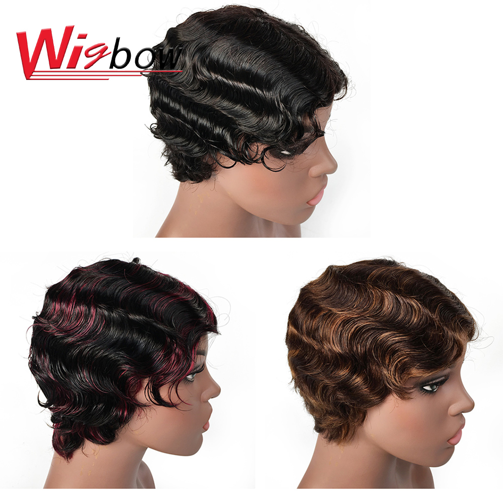Short Ocean Wave Wig Lace Human Hair Wigs For Black Women Deep Part Lace Brazilian Remy Hair Short Bob Human Hair Wig Wholesale