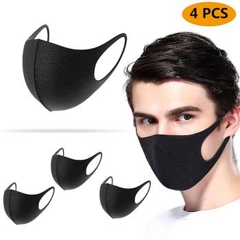 4pcs Cotton Anti-dust Mask Flu Face Mask PM2.5 Washable Reusable Anti Haze Mouth Mask Elastic korean Unisex Mask Black mask