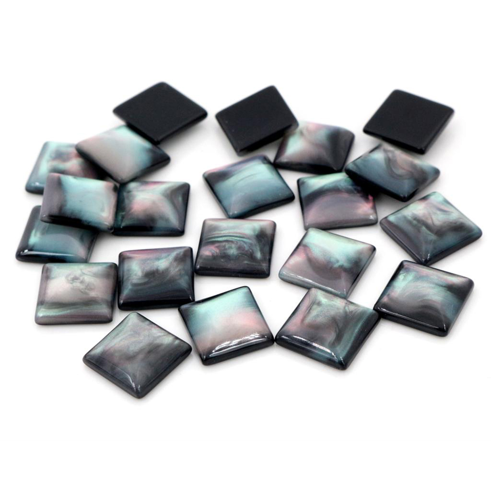 New Fashion 40pcs 12mm Black Color Square Style Flat Back Resin Cabochons Cameo-O7-11