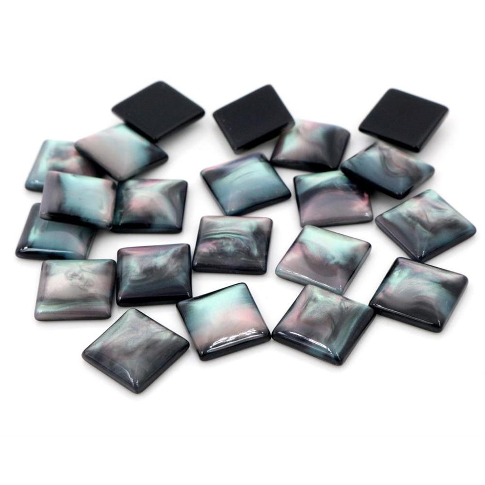 Новая мода 40 шт 12 мм черный цвет квадратный стиль плоские задние кабошоны из смолы Cameo-O7-11