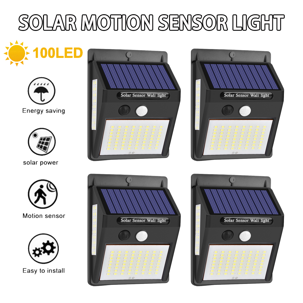 Junejour 100LED Solar Light Outdoor Solar Lamp PIR Motion Sensor Wall Light Waterproof Solar Powered Light For Garden Decoration