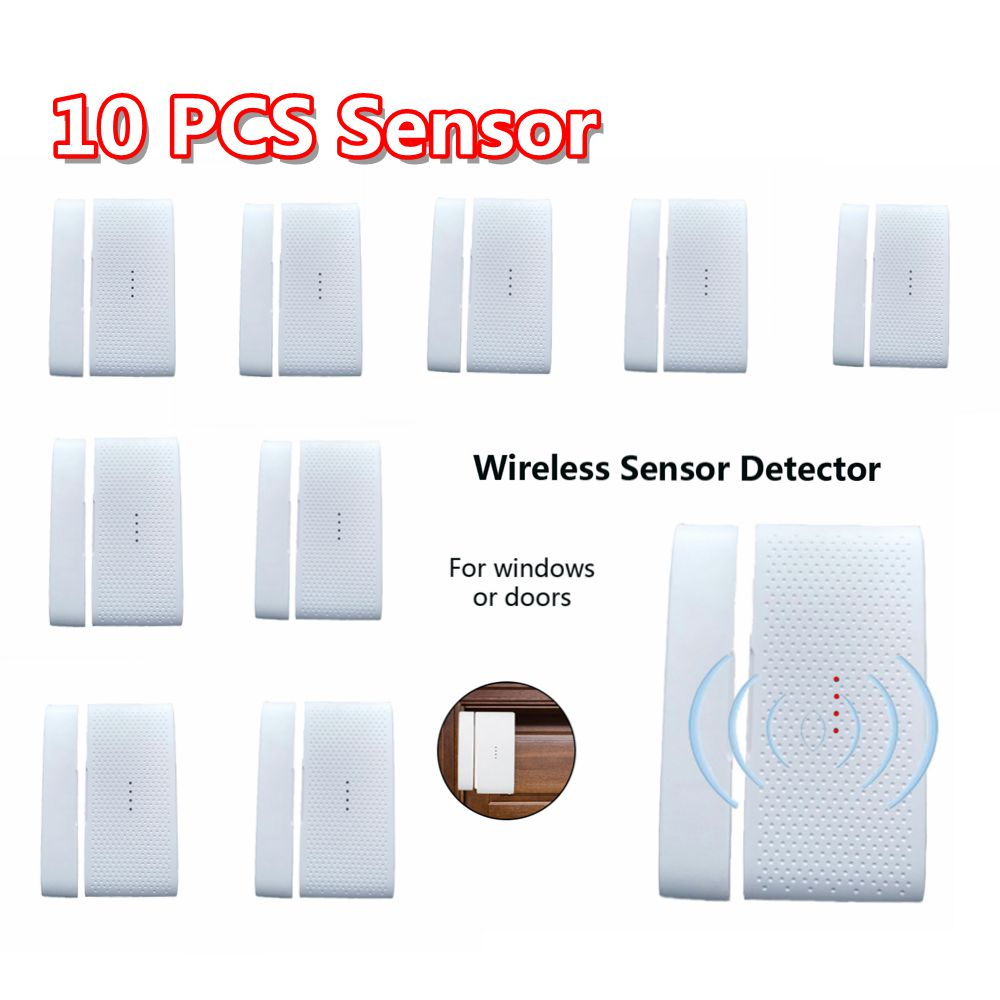 10 Pcs 433 Mhz Wireless Windows Doors Sensor Infrared Alarm Detector Home Security Alarm System Kits GSM Detector
