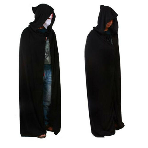 Halloween Costume Adult Death Cosplay Costumes Black Black Hooded Cloak Scary Witch Devil Role Play Cosplay Long Black Cloak New image