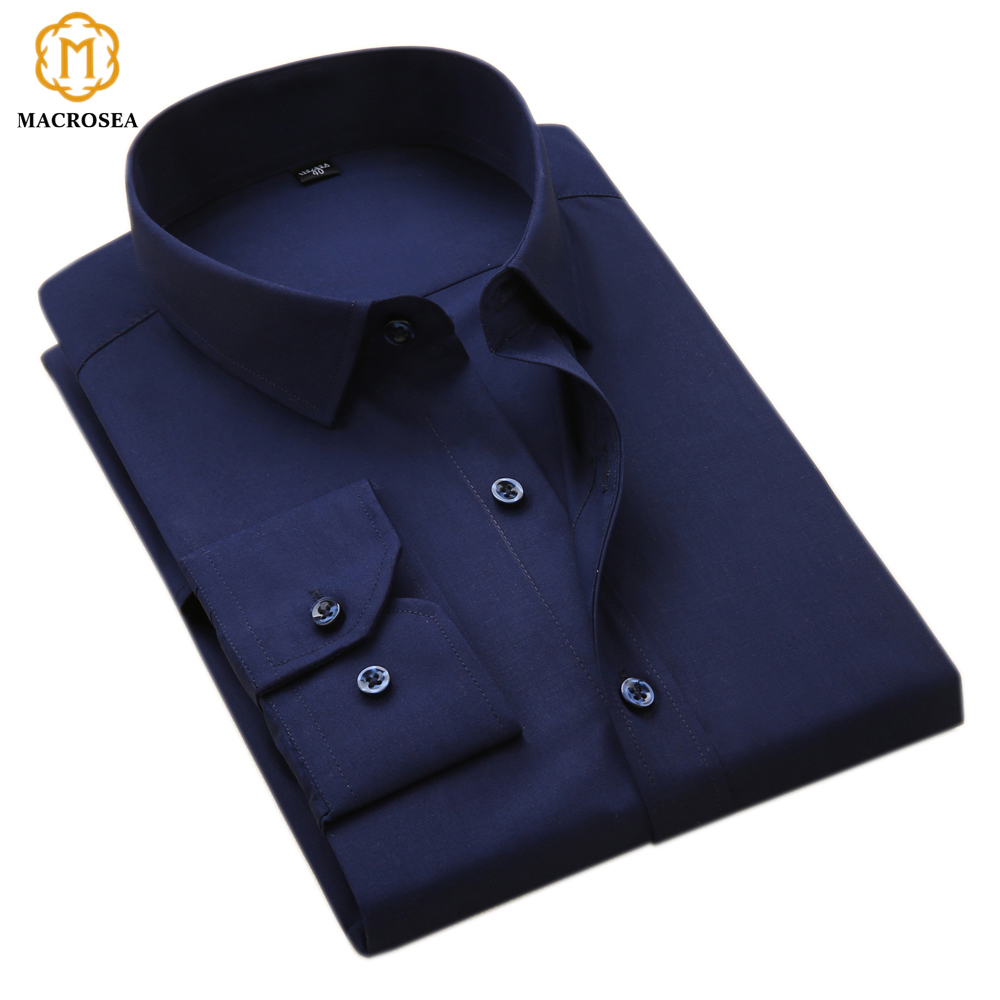 MACROSEA Men's Business Formal Shirts Men Work Shirts Plain Long Sleeve Solid Color Shirt No Pocket Office-wear Clothing